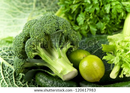 Fresh raw sliced broccoli pieces closeup segments - stock photo