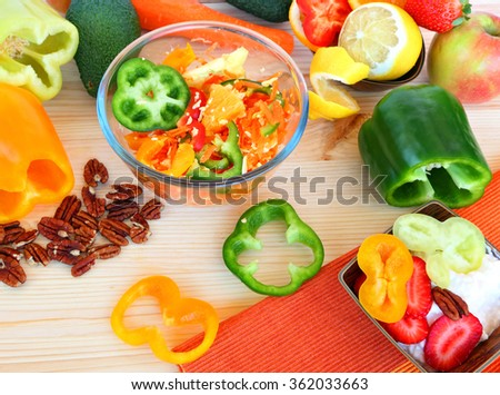 Fresh raw vegetables, fruit, nuts and cottage cheese. Healthy food for breakfast or shack  - stock photo