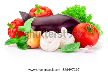 Fresh raw vegetables isolated on white background - stock photo