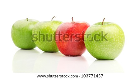 Fresh Red Apple Among Green Apples, Isolated on White - stock photo