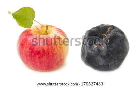 Fresh red apple and rotten apple old.  The concept of youth and decay - stock photo