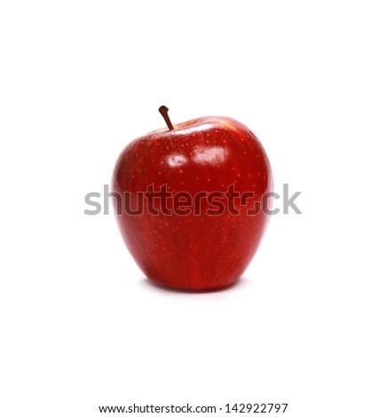 Fresh red apple on white background - stock photo