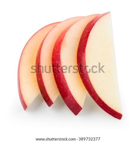 Fresh red apple. Slices isolated on white. With clipping path. - stock photo