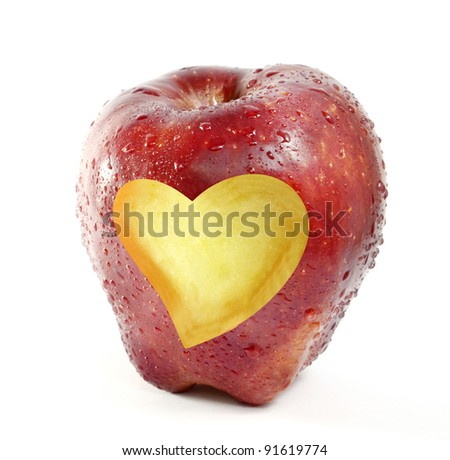 fresh red apple with heart shape - stock photo