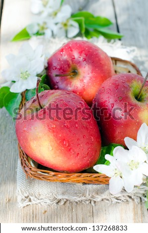 Fresh red apples in a basket. Selective focus - stock photo