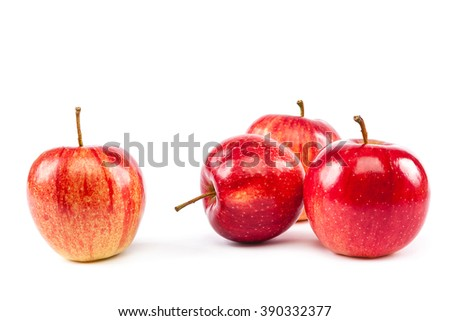 Fresh red apples isolated on white background. - stock photo