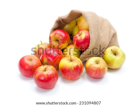 Fresh red apples spreading out from burlap bag - stock photo