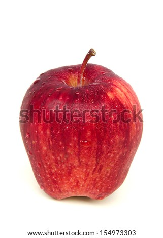 fresh red apples with drops on white background - stock photo