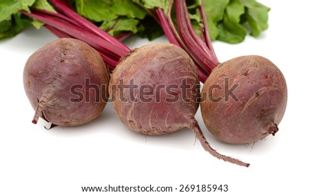 fresh red beets on white background  - stock photo