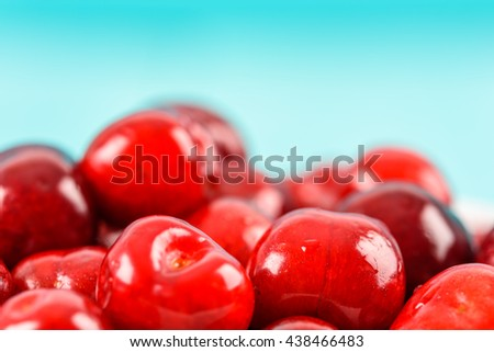 Fresh Red Cherry Fruits Closeup - stock photo
