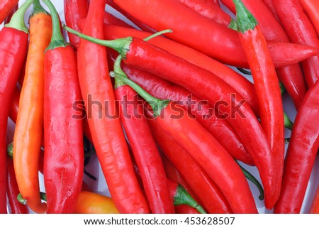 fresh red chili or chilli cayenne pepper background - stock photo