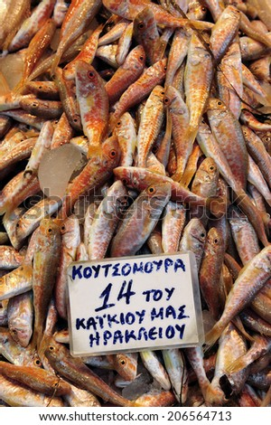 Fresh red fish, displayed for sale at a local fish market in Heraklion, the capital of the island of Crete, Greece - stock photo