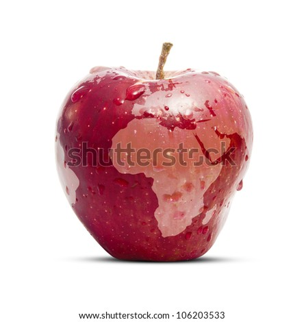 Fresh Red Global Apple - stock photo