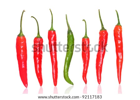 Fresh Red & green chilly close up isolated on white - stock photo
