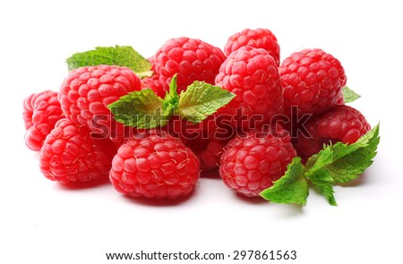 Fresh red raspberries isolated on white - stock photo
