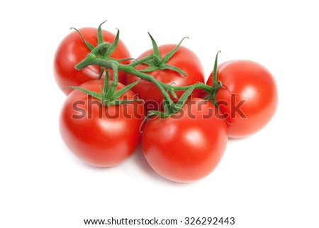 Fresh red ripe tomatoes on the vine. Isolated on white Background - stock photo