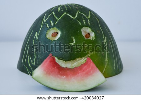Fresh red ripe watermelon for making drink / juice, eating slice of watermelon, India. Healthy refreshing  drink for hot summer. Reduce the body heat, cool drinks - stock photo
