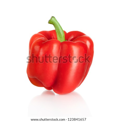 fresh red sweet pepper vegetables isolated on white background - stock photo