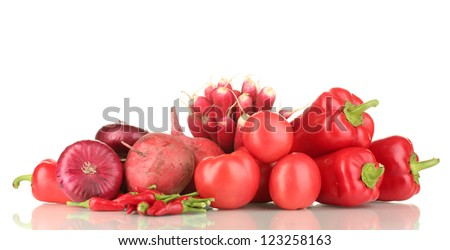 fresh red vegetables isolated on white - stock photo