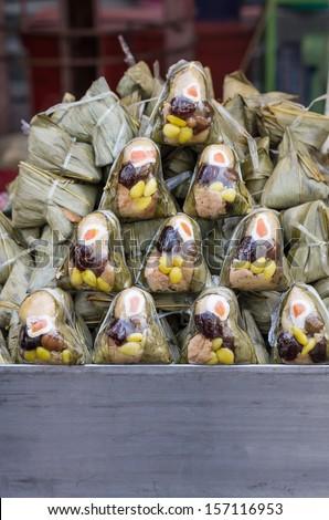 Fresh rice dumpling or zongzi. Chinese food dim sum - stock photo