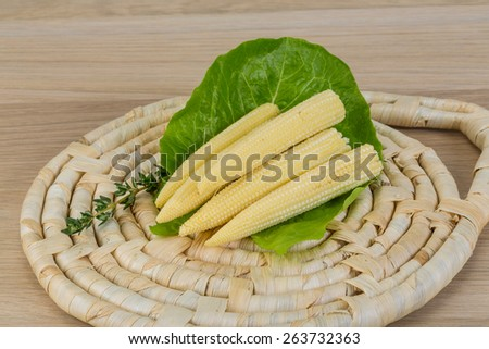 Fresh ripe Baby corn on the wood background - stock photo