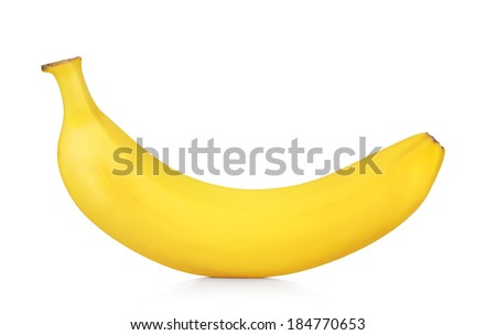 fresh ripe banana isolated on white background - stock photo