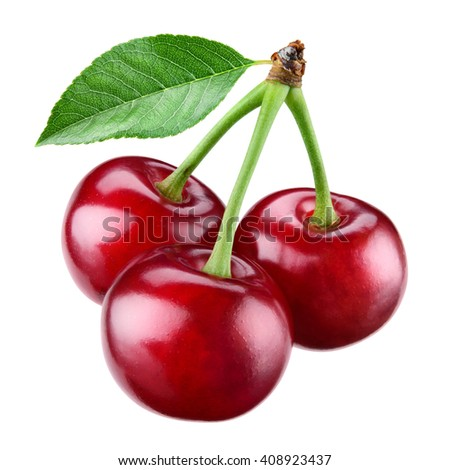 Fresh ripe cherry with leaf isolated on white.  - stock photo