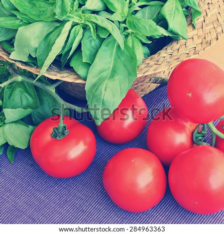 Fresh ripe farmers tomatoes and basil on wood table. Image done in vintage retro instagram style - stock photo