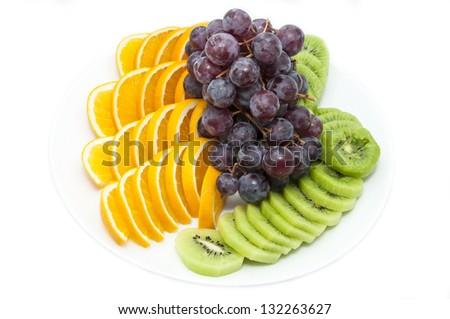 fresh ripe fruits on white background - stock photo