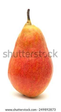 Fresh ripe large red and yellow pear isolated on white background - stock photo