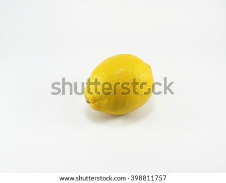 Fresh ripe lemon. Isolated on white background - stock photo