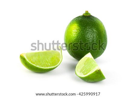 Fresh ripe lime on white background. Tropical fruit - stock photo