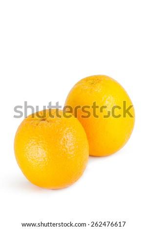 Fresh ripe orange isolated on white background. - stock photo