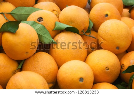 Fresh ripe oranges at farmers market in Turkey - stock photo