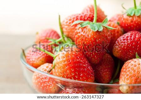 Fresh ripe perfect strawberry - Food Frame Background - stock photo