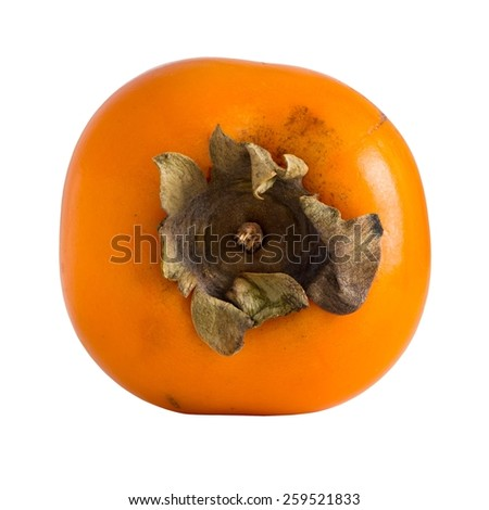 Fresh ripe persimmon isolated over white. Clipping path - stock photo