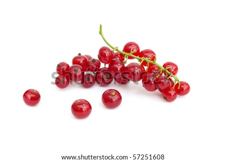 Fresh ripe red currants isolated on white - stock photo