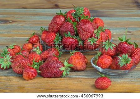 Fresh ripe red strawberries. - stock photo