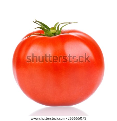 Fresh ripe red tomato on white background - stock photo