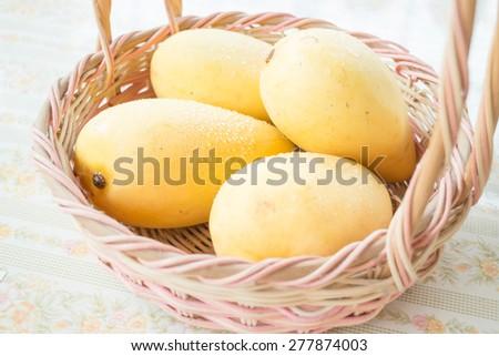 Fresh ripe thai yellow mango, stock photo - stock photo