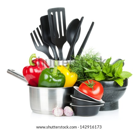Fresh ripe vegetables, herbs and kitchen utensils. Isolated on white background - stock photo