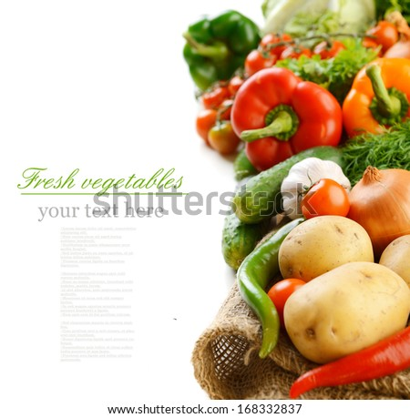 fresh ripe vegetables on white background - stock photo