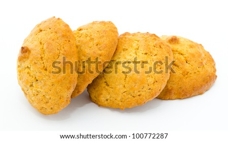 fresh round oatmeal cookies - a closeup shot - stock photo