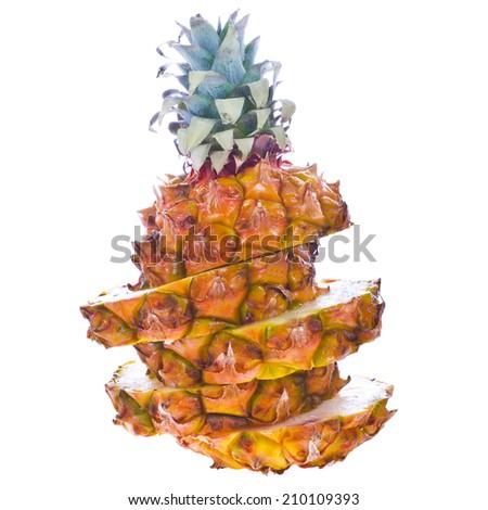 fresh round orange pineapple. sliced ??rings  isolated on white background - stock photo