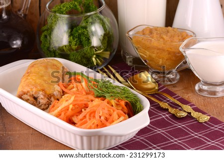 fresh salad and chicken chop, fresh food, meat and chicken chop with carrot and parsley - stock photo