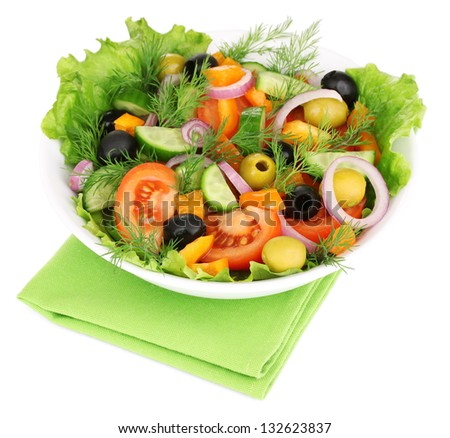 Fresh salad in plate isolated on white - stock photo