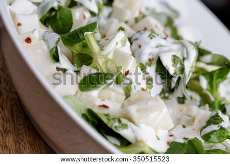 Fresh Salad of raw Kohlrabi with Yoghurt - stock photo