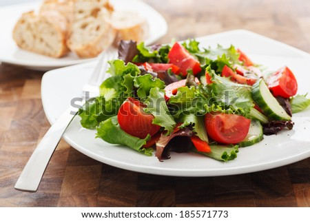 Fresh Salad with Balsamic & Vinegar Dressing - stock photo