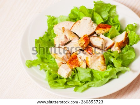 fresh salad with chicken breast - stock photo
