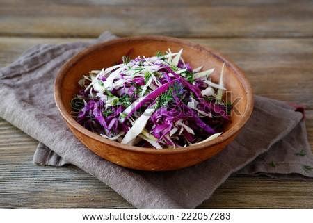 Fresh salad with chopped cabbages, healthy food - stock photo